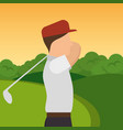 golfer playing in golf club vector image vector image