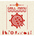 Grill menu emblem and icons dark red vector image