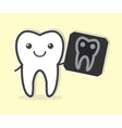 Happy tooth with X-ray film vector image vector image