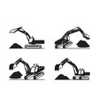 heavy construction excavator in different perspect vector image vector image