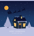 holiday christmas card with small house and santa vector image