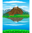 Landscape with mountain oi river vector image vector image