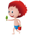 little boy in blue swimming trunk holding bucket vector image vector image
