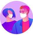 man and woman wearing medical masks vector image