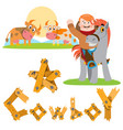 man on a horse cowboy cows in the meadow farming vector image