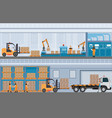 manufacturing warehouse conveyor modern assembly vector image vector image