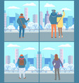 people walking in park couple look at city view vector image vector image