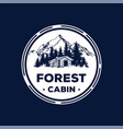 pine cedar tree forest with cabin cottage vector image