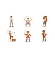 pirate characters posing in different situations vector image vector image