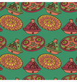 red and green seamless pattern of arabic crockery vector image