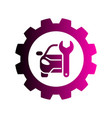 repair car logo silhouette car gear and wrench vector image vector image