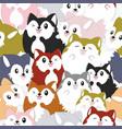 seamless pattern cute bafox family cartoon vector image