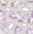 seamless pattern with unicorns donut rainbow vector image vector image