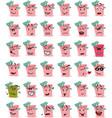 set of pink bucket and beach shovel character emoj vector image
