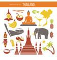 set of thailand travel symbols and bangkok vector image