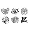 set of welcome back to school lettering quotes vector image