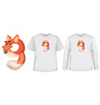 set two types shirt with fox in number nine vector image