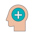 Silhouette head human and cross shape vector image vector image