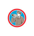 Soldier Blowing Bugle Circle Retro vector image vector image