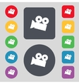 Video camera sign icon content button Set vector image