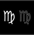 virgin symbol zodiac icon set white color flat vector image