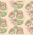 water lily pastel pink seamless pattern vector image