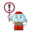 with sign gumball machine character cartoon vector image vector image