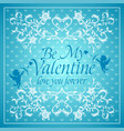 blue valentines day background card with cupid vector image