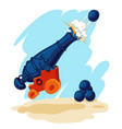 image of a cannon with cannon balls vector image