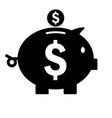 piggy bank icon silhouette saving money symbol vector image