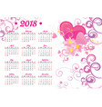 2018 year calendar pink heart and flowers decor vector image vector image