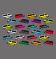 a bunch colorful buses on a gray background vector image