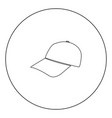 baseball cap black icon in circle isolated vector image vector image