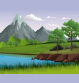 beautiful landscape with lake vector image vector image