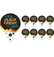 black friday labels set in black and gold vector image vector image