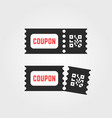 black ticket coupon icon with qr code vector image vector image