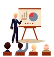 Businessman giving presentation using a board vector image