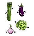 Cabbage spinach eggplant and garlic vector image vector image