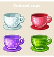 cartoon colorful tea and coffee cups vector image