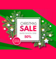 christmas sale banner holiday background with fit vector image