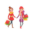 christmas shopping female friends with packages vector image vector image