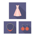 clothes and accessories flat icons in set vector image vector image