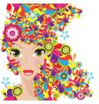 colorful hair women vector image vector image