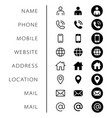 company connection business card icon set phone vector image vector image
