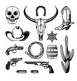 cowboy emblem monochrome vintage icon set vector image vector image