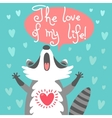 Cute raccoon confesses his love vector image vector image