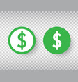 dollar sign icon set on transparent background vector image vector image