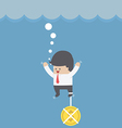 Drowning businessman with dollar coin chain on his vector image vector image