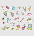 fashion girly stickers set vector image