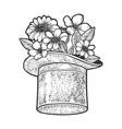 flowers in top hat sketch vector image vector image